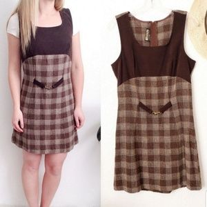 90s Vintage Check Plaid Pinafore Jumper Mini Dress